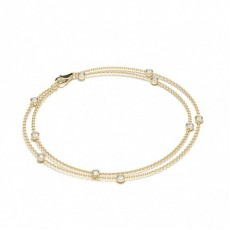 Mixed Shapes Yellow Gold Delicate Bracelet