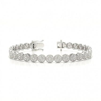 Geteilte Zinkeneinstellung Rundes Diamant-Abendarmband