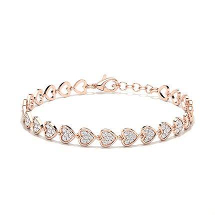 Alltagsarmband mit rundem Diamant in Pave-Fassung