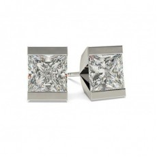 White Gold Princess Diamond Stud Earring - CLER1_01
