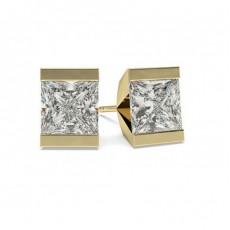 White Gold Princess Diamond Stud Earring - CLER1_01