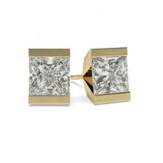 Yellow Gold Stud Diamond Earrings