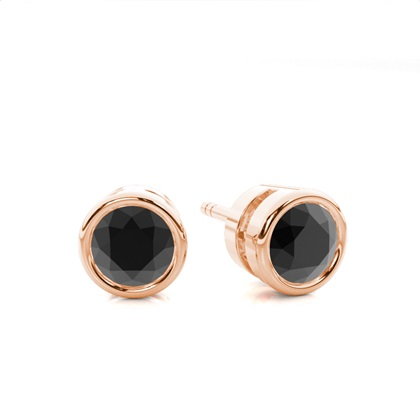 Full Bezel Setting Stud Black Diamond Earring - CLER2_02
