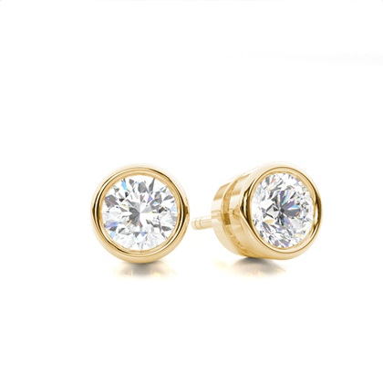 White Gold Round Diamond Stud Earring - CLER2_01