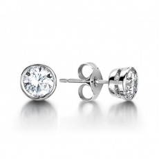 White Gold Round Diamond Stud Earring - CLER2_03