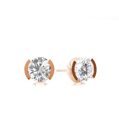 White Gold Round Diamond Stud Earring - CLER3_01