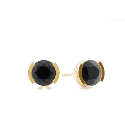 Boucles d'oreilles diamant noir serti demi-clos - CLER3_02