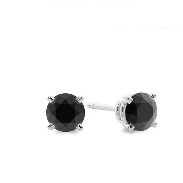 Boucles d'oreilles diamant noir serti 4 griffes