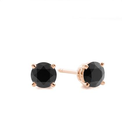 4 Prong Setting Stud Black Diamond Earring - CLER4_03