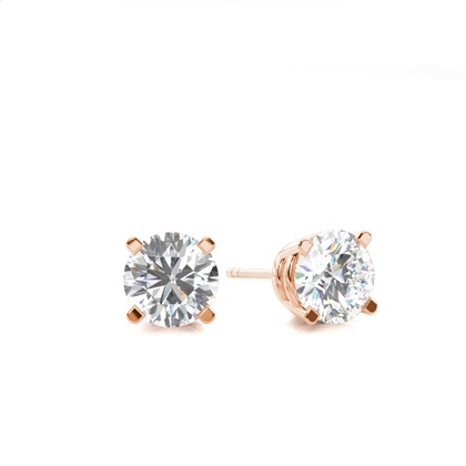 White Gold Round Diamond Stud Earring - CLER4_01