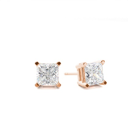 Princess Rose Gold Stud Diamond Earrings