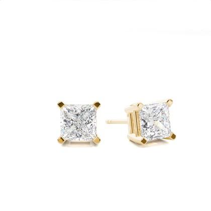 Princess Yellow Gold Stud Diamond Earrings