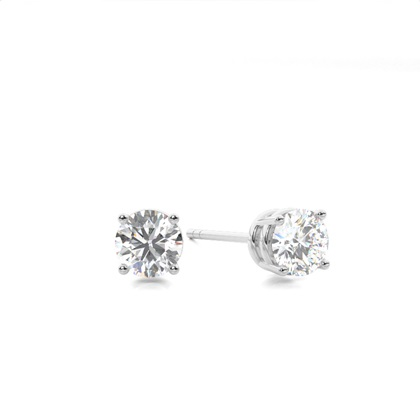 White Gold Round Diamond Stud Earring - CLER4_04