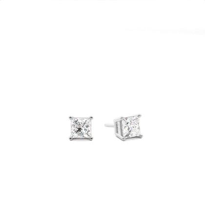 White Gold Princess Diamond Stud Earring - CLER4_05