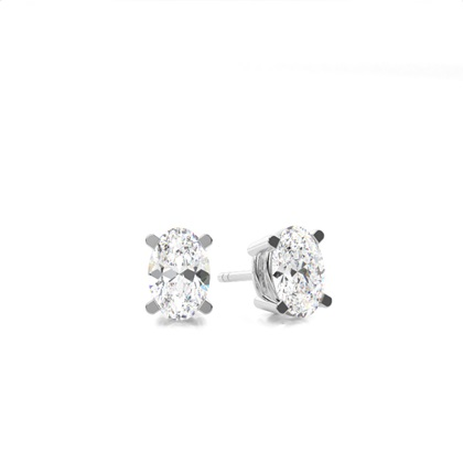 Oval Stud Diamond Earrings