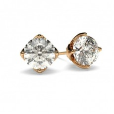 White Gold Round Diamond Stud Earring - CLER5_01