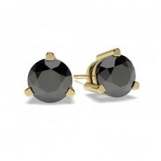 White Gold Round Black Diamond Earring - CLER6_02