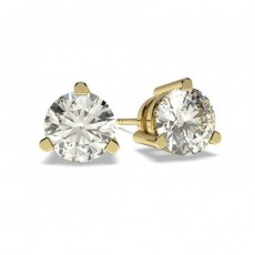 White Gold Round Diamond Stud Earring - CLER6_01