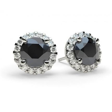 White Gold Round Black Diamond Earring
