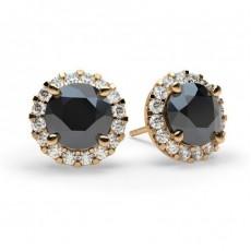 4 Prong Setting Halo Stud Black Diamond Earring - CLER7_08