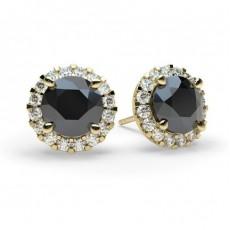 White Gold Round Black Diamond Earring - CLER7_08