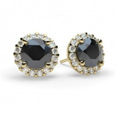 Yellow Gold Black Diamond Earrings