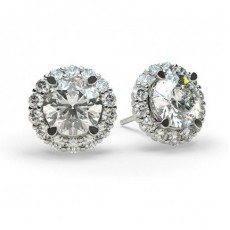 4 Prong Setting Halo Stud Earring (Available from 0.40ct. to 3.50ct.)