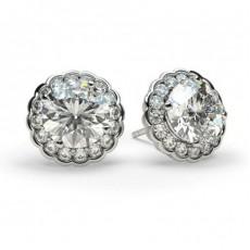 White Gold Round Diamond Halo Earring - CLER7_07