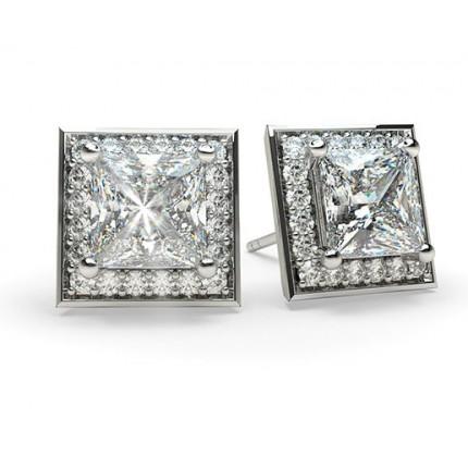 White Gold Princess Diamond Halo Earring