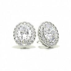 Oval Halo Diamond Earrings