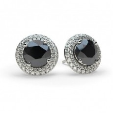 White Gold Round Black Diamond Earrings