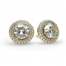 Round Yellow Gold Halo Earrings