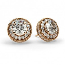 Round Rose Gold Halo Earrings