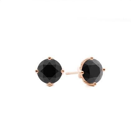 4 Prong Setting Stud Black Diamond Earring - CLER10_02