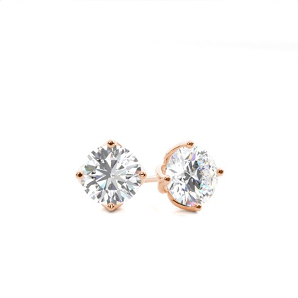 White Gold Round Diamond Stud Earring - CLER10_01
