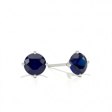 4 Prong Round Blue Sapphire Stud Earring