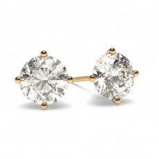 White Gold Round Diamond Stud Earring - CLER12_01