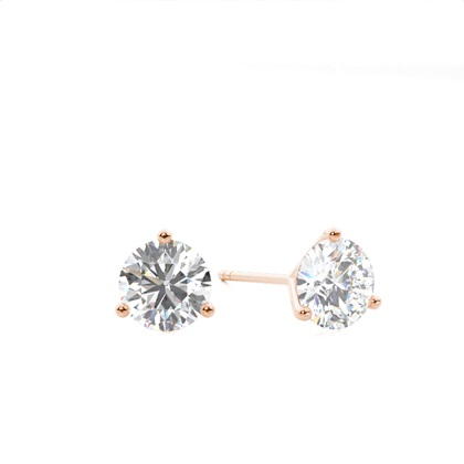 White Gold Round Diamond Stud Earring - CLER13_01