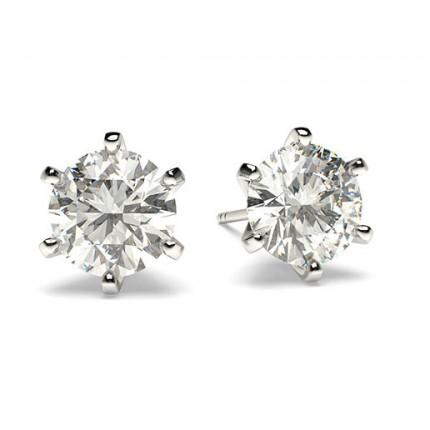Puces d'oreilles diamant rond serti 6 griffes