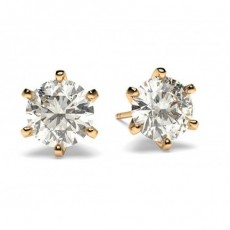 White Gold Round Diamond Stud Earring - CLER15_01