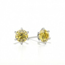 6 Prong Yellow Diamond Stud Earring