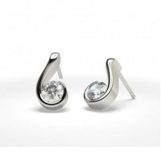 Semi Bezel Setting Stud Earring - CLER16_01