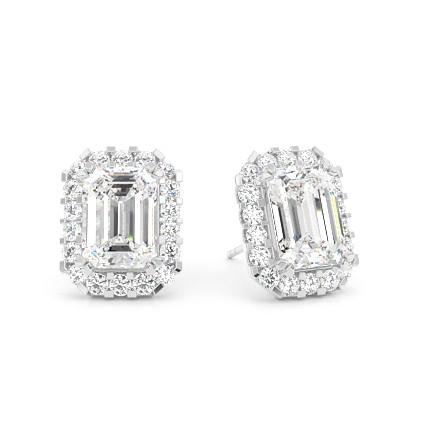 Boucles d'oreilles halo diamant emeraude/rond serti 4 griffes