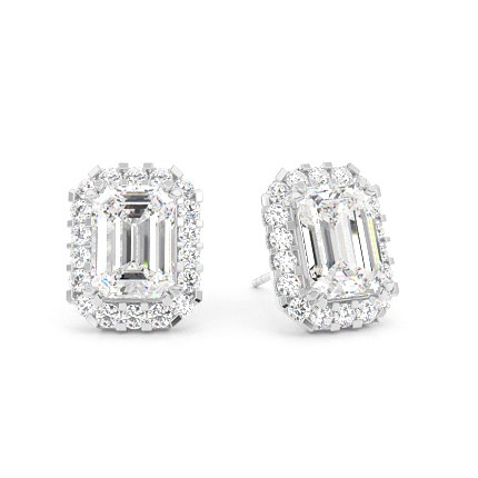 White Gold Emerald Diamond Halo Earring
