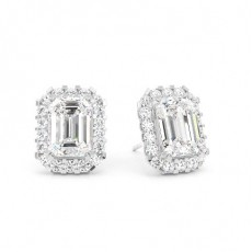 White Gold Emerald Diamond Halo Earring - CLER19_01
