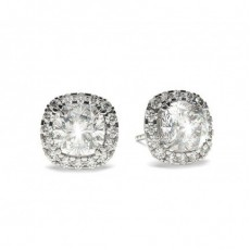 White Gold Cushion Diamond Halo Earrings