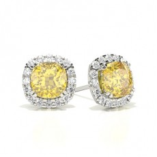 Yellow Diamond Halo Stud Earring
