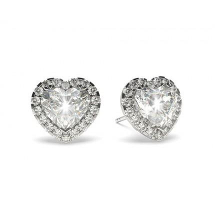 Boucles d'oreilles halo diamant cœur/rond serti 3 griffes