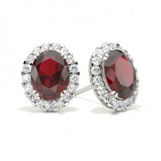 4 Prong Setting Halo Ruby Earring