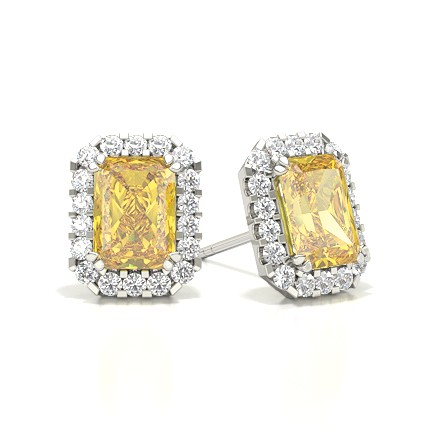 Gelber Diamant Halo Ohrstecker